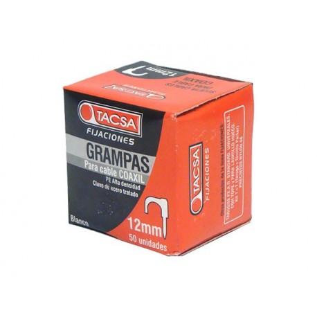 GRAMPAS SUJETA CABLE COAXIL Nº 12 Blanco - Estuche x 50 U