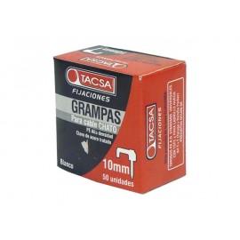 GRAMPAS SUJETA CABLE CHATO Nº 10 Blanco - Estuche x 50 U