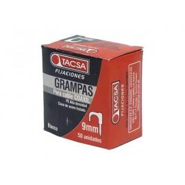 GRAMPAS SUJETA CABLE COAXIL Nº 9 Blanco - Estuche x 50 U